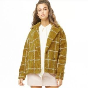 Forever 21 Grid Print Faux Shearling Coat Size XS
